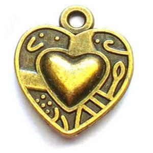 Metal Charm: Heart - brass