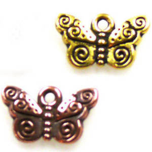Metal Charm: Butterfly with spiraled wings