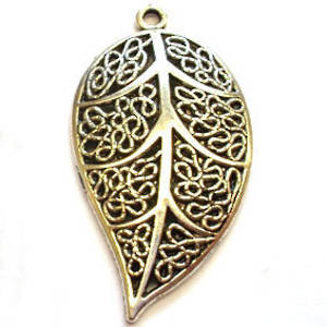 Metal Charm: Filigree Leaf - antique silver