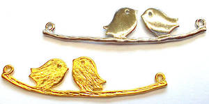 Metal Charm: Love birds on branch - gold/silver