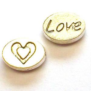 Metal Bead: Love disc charm - antique silver