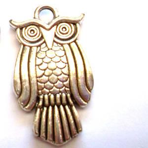 Metal Charm: Owl - silver