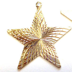 Metal Charm: Flat etched star - antique silver