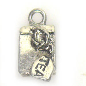 Metal Charm: 'Tea' Label - antique silver