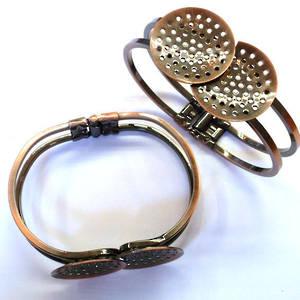 Sew on bracelet cuff: Round plates - COPPER