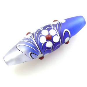 Czech Lampwork, opaque oval, sapphire and clear with flower decoration.