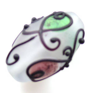 Czech Lampwork, opaque oval, pink, green and black decoration