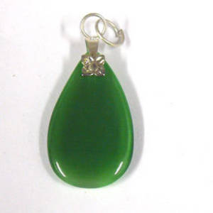 26mm Fibre Optic Pear Pendant: Green
