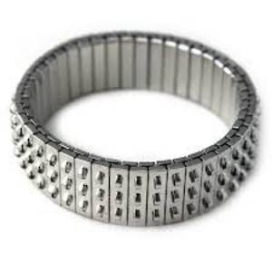 Chacha Bracelet Base, stretchy - Antique Silver