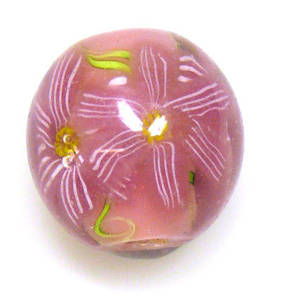 Fabulous Large Round Lampwork, Pink with pink flowers