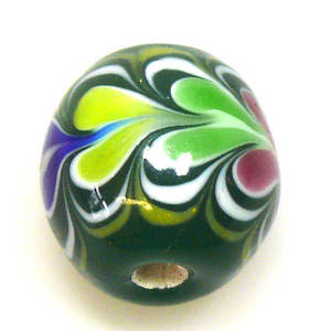 Fabulous Large Round Lampwork, green with pink, green, blue hearts
