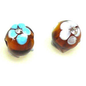 Chinese Lampwork Bead, 10mm Round, inset with Diamates. Topaz.