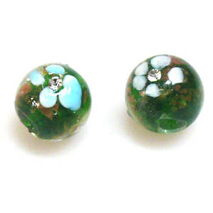 Chinese Lampwork Bead, 15mm Round, inset with Diamates. Green.