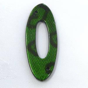 Acrylic Donut Style Piece, green oval, snake like markings