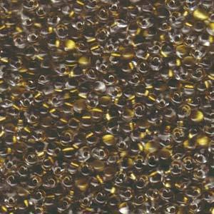 Miyuki Drop,  Gold Lined Crystal