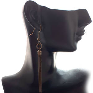 EARRING: Plain slim chain tassel - Antique Brass