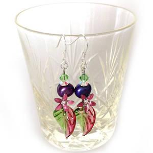Europa Earrings: Raspberry, Purple and Green