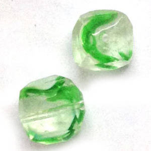 10mm facet cube - Green/White/Transparent