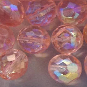 Czech Firepolished Facet: 10mm - Light Pink AB