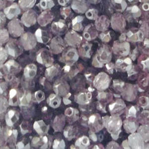 Czech Firepolished Facet: 4mm - Light Amethyst/Silver