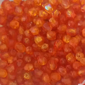 Czech Firepolished Facet: 4mm - Fire Orange Crackle