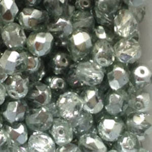 Czech Firepolished Facet: 6mm - Silver/Crystal