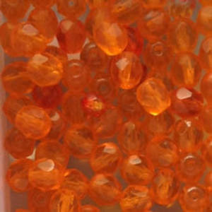 Czech Firepolished Facet: 6mm - Orange