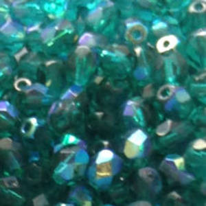 Czech Firepolished Facet: 6mm - Teal AB