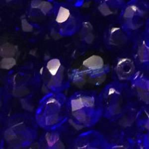 Czech Firepolished Facet: 6mm - Cobalt