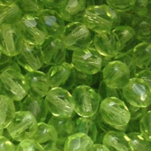 Czech Firepolished Facet: 6mm - Peridot