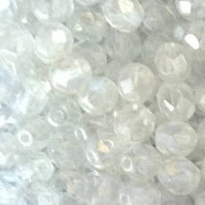 Czech Firepolished Facet: 6mm - Crystal Lustre