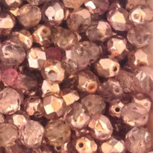 Czech Firepolished Facet: 6mm - Light Amethyst/Pink metallic