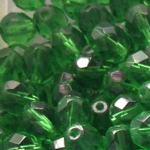 Czech Firepolished Facet: 8mm - Mid Emerald