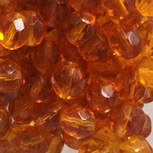 Czech Firepolished Facet: 8mm - Amber
