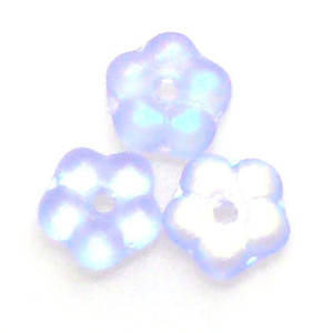 Baby Flat Flower, 5mm - Sapphire, light frosted AB