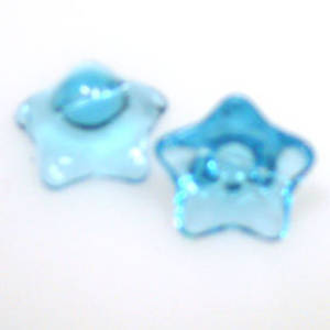Glass Flower, 12mm,  bottom drilled - Transparent aqua