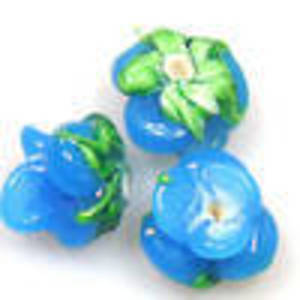 Lampwork Bud Flower, 12mm -Aqua