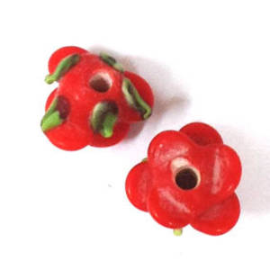 Lampwork Bud Flower, 12mm -Red