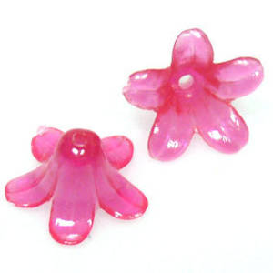 Acrylic Tulip Flower, 10mm x 12mm - Hot Pink