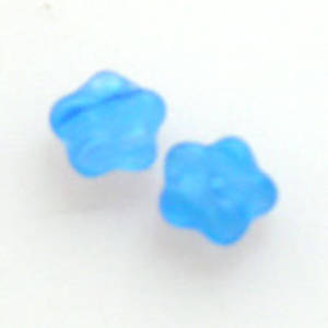 NEW! Flat Flower, 6mm - Blue/Clear matte multi