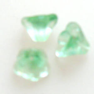 NEW! Trumpet flower, 8mm - Peridot/Clear multi