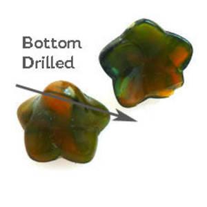 NEW! Glass Flower, 12mm, bottom drilled - Green/Amber mix