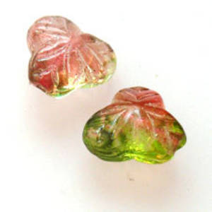 NEW! Fine Tri Flower, 9mm - Cranberry/Green transparent