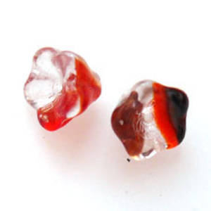 NEW! Trumpet flower, 8mm - Orange/Black transparent mix