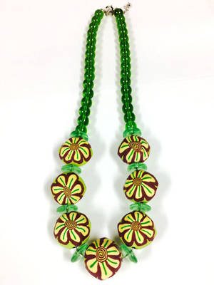 Fimo Necklace: Green Tone