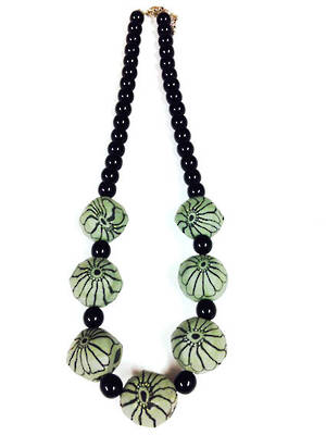 Fimo Necklace: Grey Floral