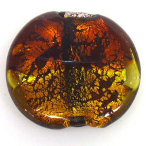 Indian Lampwork, large feature foil, brown/gold flat disc