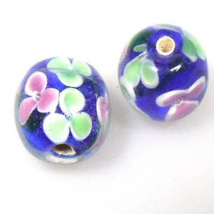 Indian Lampwork, round, deep blue with green and pink flowers and transparent top layer