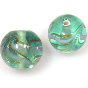 Indian Lampwork, round, very light transparent green with white and gold feathered patterns