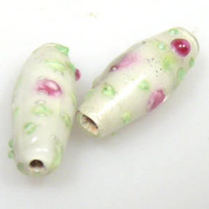 Indian Lampwork, oval, white with delicate pink/green flower design